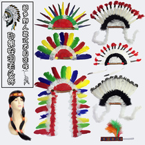 Indian Aboriginal chief feather headdress King called me to patrol Mountain primitive African drum Savage table performance Props
