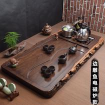 Ebony tea tray with induction cooker integrated automatic tea set large household high-grade wood tea tea table