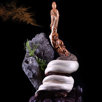 Wood three natural cliff cypress piece gift Tai line mountain root carving Chenhua Guanyin Miller town house with money