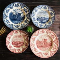 Foreign trade exports the original single breakfast plate steak plate 8 inch 10 inch plate set home tableware red and blue castle