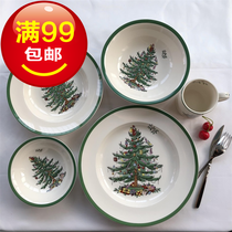 Creative Nordic ceramics home pasta plate bowl Christmas tree decorated plate cake snack cup can be heated