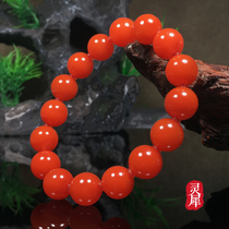 South red hand string Liangshan Sichuan material persimmon red flame pattern Cherry red ice floating multi-circle bracelet 108 single-circle pulp
