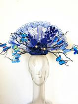 Blue and green Porcelain series Headwear catwalk model competition headwear exaggerated headwear makeup styling branches Butterfly Hair accessories