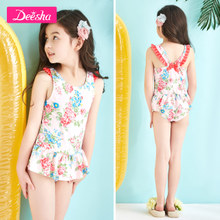Dresses girls' swimsuit 2018 summer wear, new mid size children's printed girl swimsuit, princess skirt style children's swimsuit.
