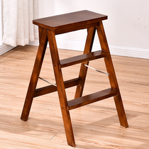 Solid wood home ladder collapsible one ladder three pine shelf flower kitchen stool wood color
