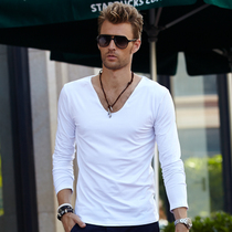 V-neck men's long sleeve t-shirt men's solid color v neck end of spring and autumn in plain white men's clothes-shirt