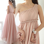 Pakistan mood Goddess Dress Chiffon quinoa Greek style conference bridesmaid dresses wedding pink nude shoulder Gown Dress