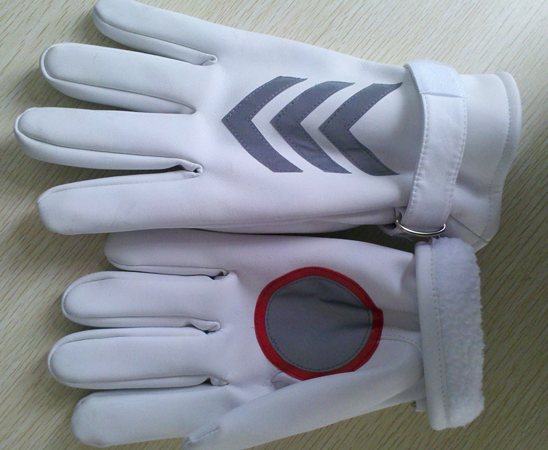 Reflective Gloves White Leather gloves leather cotton gloves duty gloves