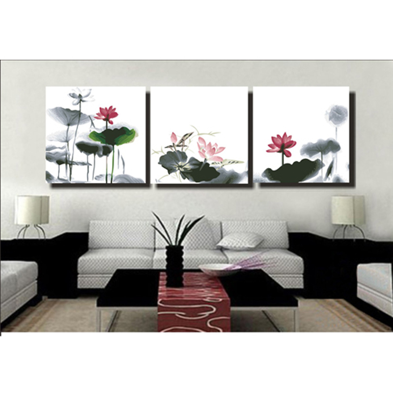 Diy Digital Oil Painting, Ink Painting, Water Painting, Hand Painting, Three Paints of Landscape Flowers, Living Room Oil Painting, Chinese Fenghua Flower Decoration Painting