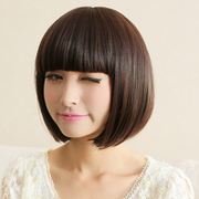 Lu wig, female fashion, short hair, fluffy, BOBO head, neat, Liu Haiduan, straight hair, set face repair, post 30209