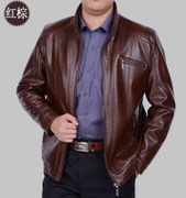 2017 spring and autumn leather collar middle-aged male casual men's leather jacket coat old father put a thin section of code