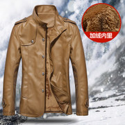 2017 new winter coat jacket thick warm male leather men's leather collar Korean leisure tide