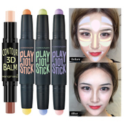 Double cover Concealer stick high light brighten shadows Biying high light stereo V high light pen lying face