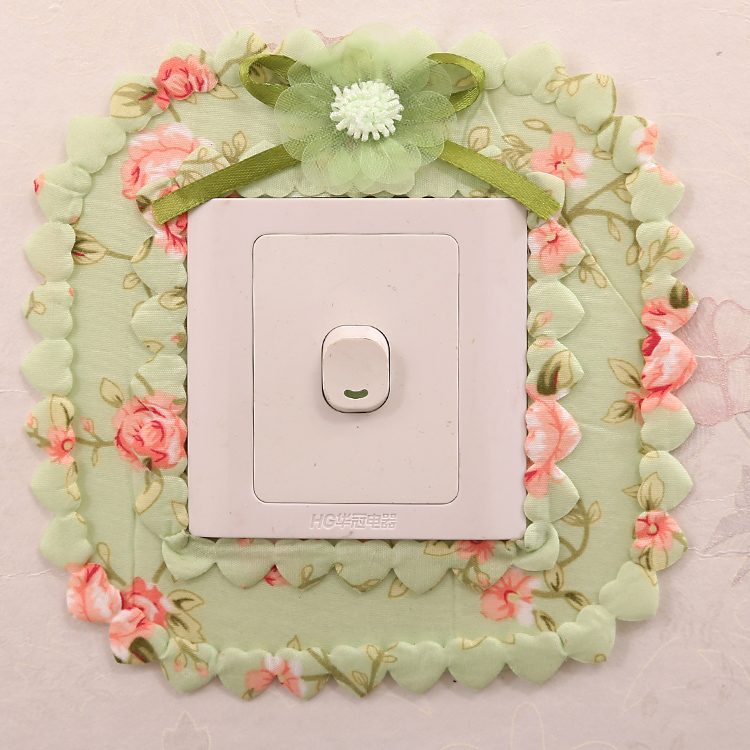 Pastoral switch wall stickers protective cover fabric lace living room bedroom home double pocket power outlet dust cover