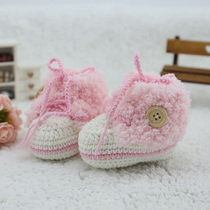 Pure hand knitted hand hook female baby pink wool shoe baby knitted shoes winter velvet warm small sneakers