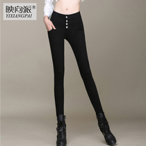 New spring and summer high waist four-breasted skinny black jeans womens the Korean version of thin elastic feet pencil trousers pants