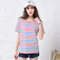 Known female loose short sleeve t shirt slim Korean students take summer 2017 t slub cotton bottoming shirt