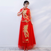 Toasting service thin style show grain service bride 2018 new style Chinese wedding wedding summer wedding China wind dress Dragon Phoenix gown