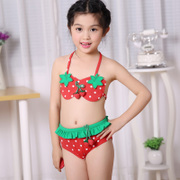 The new children's children in the children's swimwear bikinis girls lovely strawberry split swimsuit hat