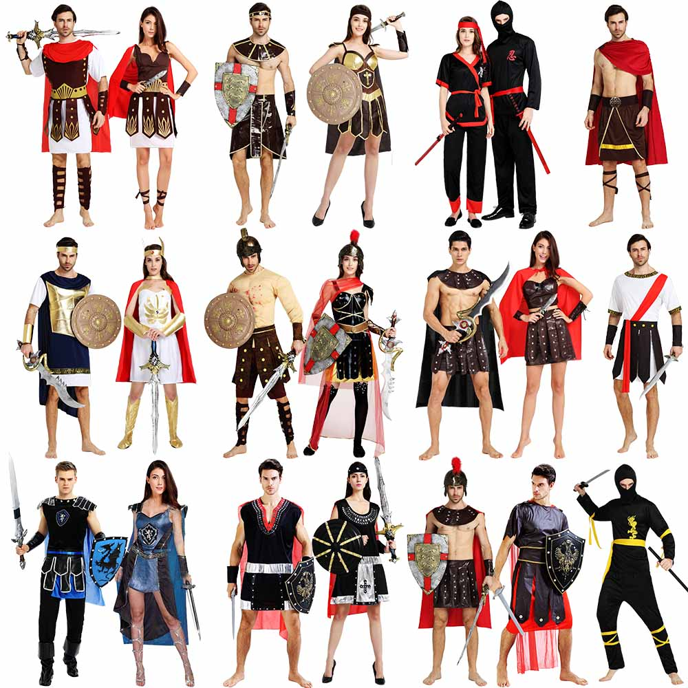 Cosplay Clothes,Halloween Clothes,Halloween Ancient Roman Warrior Greek Caesar Adult Men and Women Cosplay Show Spartan Samurai Costume