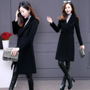 Wool coat girls long thick 2017 new slim waist all-match Korean double sided cloth cloth coat tide