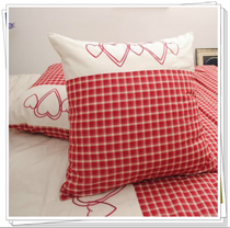 Foreign Trade cotton bed products pure cotton special soft color woven red four-lattice embroidery heart Pillow pillow 55-65cm