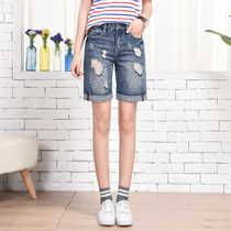 Summer denim shorts girl Natalie Choquette waist denim shorts skinny wide leg pants Korean students