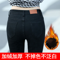 Black high waist plus female new stretch velvet with jeans padded feet pencil pants slim trousers in autumn and winter