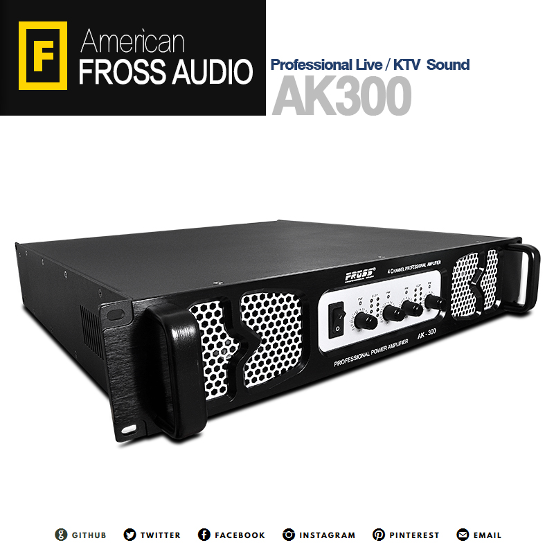 Fross/Boiler AK300 4-channel pure final stage power amplifier professional ktv audio power amplifier 300W high power