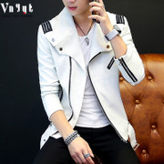 Young men and women in the winter and spring leather car leather PU leather jacket man handsome handsome short jacket