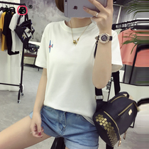 Spring and summer new junior high school students short-sleeved T-shirt college wind girl Korean version of the wild was thin collar collar body