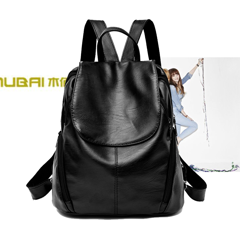 2017 new wave ladies shoulder bag Korean fashion casual wild pu soft leather backpack 2018 personality bag