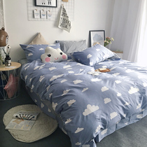 Cotton cartoon Four-piece cotton simple sheet quilt cover 1.8m bed double 1.5 meter dormitory bed product suite