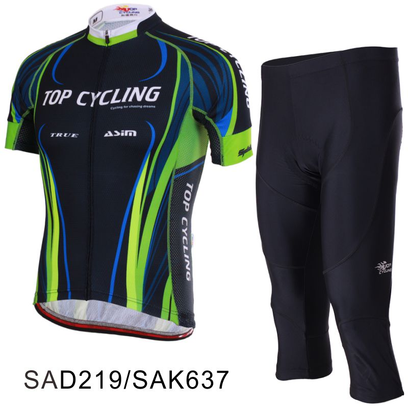TOPCYCLING Topic Summer Bicycle Raw Yarn Short-sleeved Cycling Suit Seven-cent Pants for Men and Women