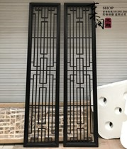 New Chinese Dongyang wood carving Solid wood flower grid background wall Japanese grille entrance Antique partition door and window grille carving
