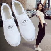 Spring white shoe Korean women canvas shoes' flat cloth pedal lazy shoes casual shoes tide