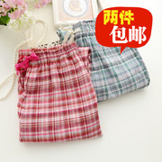 Two bag mail lady spring cotton cotton pajama pants Home Furnishing Plaid cotton casual trousers small fresh parents