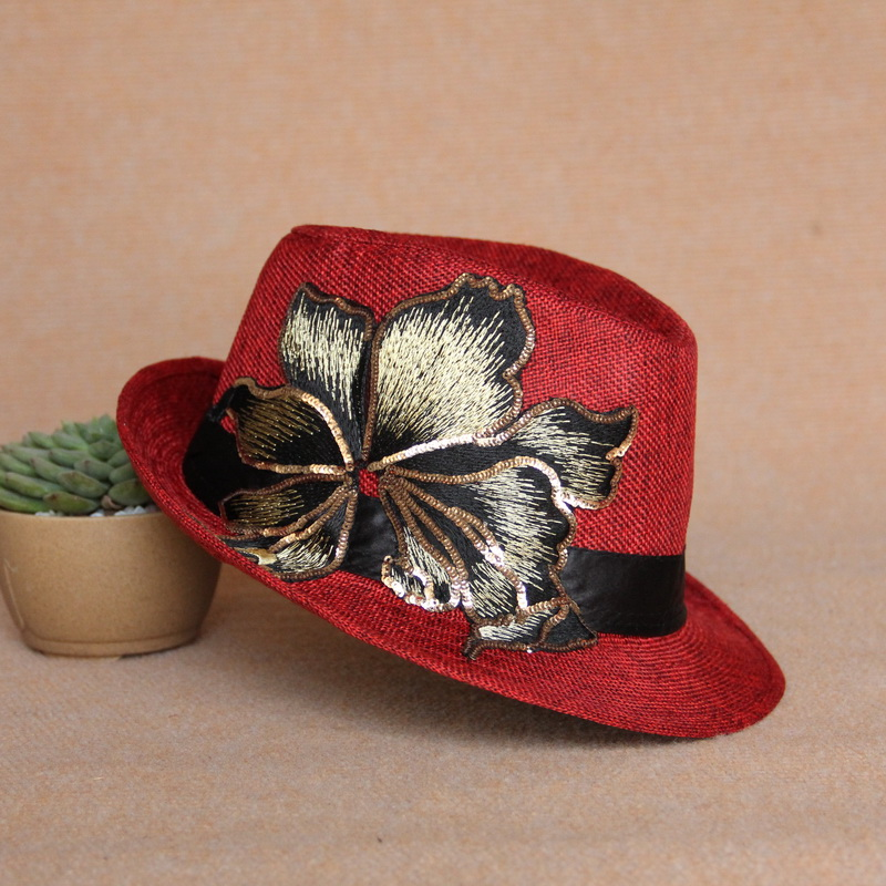 Cloud decoration totem original design womens hat embroidered hat national style lace sequin embroidered hat casual womens hat red