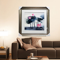 Boutique Suzhou Embroidery Mural single-sided embroidery decorative painting living room hanging painting lotus exquisite handmade gift ink collection