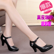 The new occupation in women's shoes with leather work with thick thick bottom shallow mouth round work shoes and high heels