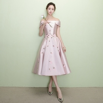 Winter fashion wedding banquet with one word shoulder party Bridesmaid suit