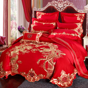 Ya Mu Cotton wedding four sets of large red wedding bedding dragon and Phoenix wedding bed products set of more than and 60 pieces