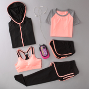 Summer Yoga suit, women's jogging suit, loose and thin body clothes, three sets of speed, dry clothes, vests, trousers