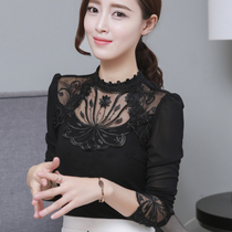 Long-sleeved bottoming shirt women's autumn and winter new cashmere lace shirt was thin Korean version of large size lace mesh bottoming shirt shirt