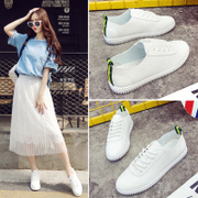 White shoes all-match spring thick soled shoes lace Student Korean white shoes leisure shoes a woman in summer