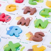 Childrens English letters and numbers matching cognitive literacy card puzzle board baby early education puzzle wooden toys