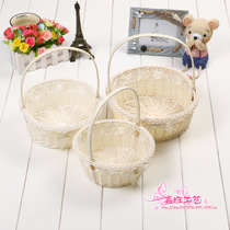 Handmade rattan woven wedding petals Candy Dance Flower Basket Fruit portable high-end gift wedding flower girl basket