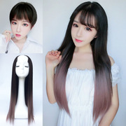 Divided air female U type semi long straight hair wig headgear in natural bangs hair cover contact no trace in the long hair