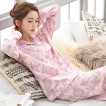 Spring and autumn pajamas women's cotton long-sleeved middle-aged sets of female models fall cotton middle-aged mother home service