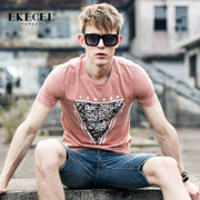 2 pieces in summer, new men's short sleeve T-shirts, Korean prints, T-Shirts, shirts, tide men's clothing, summer